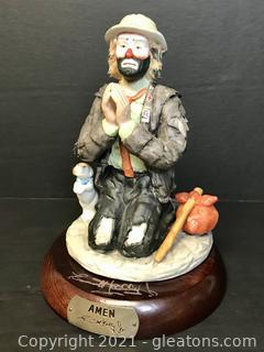 "Emmett Kelly Jr. Limited Edition Figurine by Flambro ""Amen"" #9875"