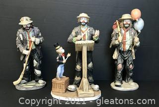 Emmett Kelly Jr. Limited Edition Signed Figurines - Lot of 3