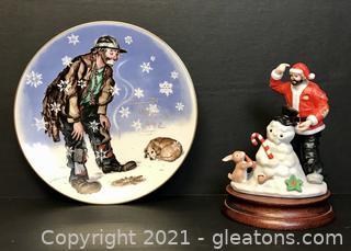 Emmett Kelly Jr. Winter Plate and Christmas Miniature Figurine