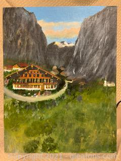 A.Von Heister Unsigned Bavarian Landscape on Canvas Panel