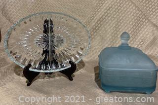 Indiana Glass Tiara Blue Honey Box and Divided Dish