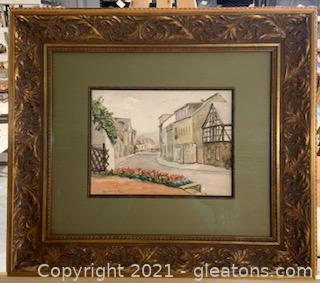Framed and Signed Watercolor of European Street