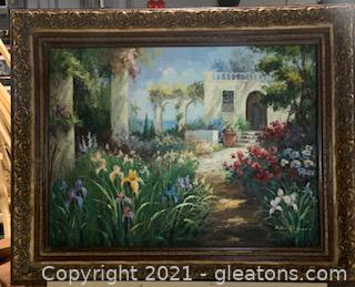 Oversized Framed and Signed Oil Painting of European Still Life