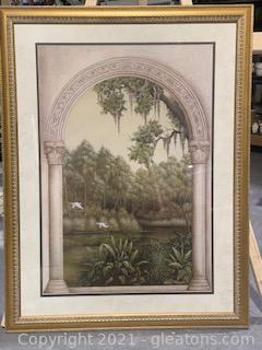 Signed and Framed Grecian Landscape Print