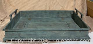 Blue Distressed Footed Metal Tray with Handles