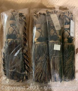 4 Black and Gold Tassel Elegance Curtain Tiebacks