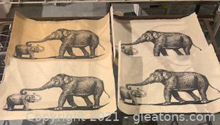 4 Identical Pressed Papers Depicting Elephants