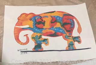 Colorfully Painting Elephant on Canvas Paper