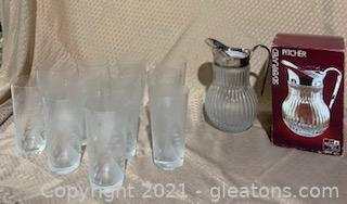 FB Rogers (Towle) Silverplated Glass Pitcher with Etched Glasses