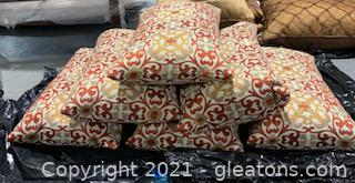 Six Upholstered Down Filled Decorative Pillows