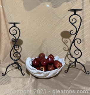 Jay Wilfred Shell Decor and Two Metal Pillar Candle Holders