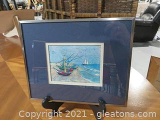 Van Gogh Print : Fishing Boats on the Beach at Saintes- Omaries