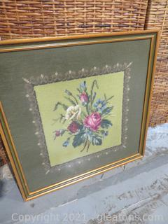 Exquisite Handmade Needlework Picture, Framed