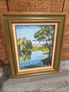 Lovely Oil Painting of Lake, Framed