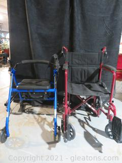 Drive Walker and Medline Excel Folding Wheelchair