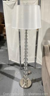 Acrylic Ball Floor Lamp W /Cream Drum Shade
