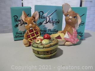 2 Pendelfin Rabbits Plus Apple Barrel