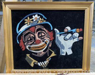 Vintage Black Velvet Clown Painting