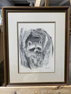 Vintage Raccoon Signed Print