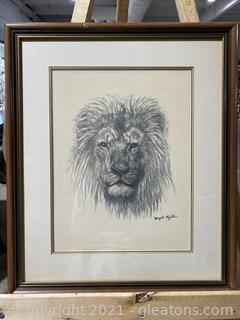 Vintage Lion Signed Print