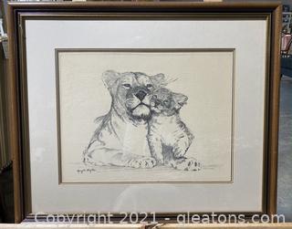Vintage Lions Signed Print