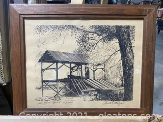 Numbered and Signed Monochrome Lithograph Print