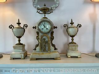 Vintage Marble Mantle Clock W/ 2 Matching Marble Urns