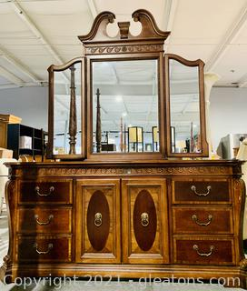 Mahogany 9 Drawer Carved Dresser with 3 Glass Mirror