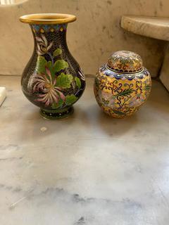Black Floral Cloisonne Vase & Gold Floral Cloisonne Vase W/ Lid.