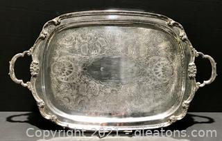 """""""Remembrance"""" Large Silver Plate Waiter Tray by International Silver"""