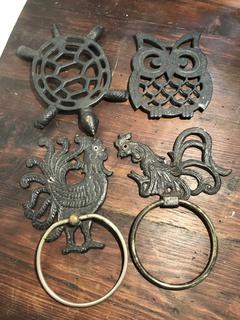 Lot of Vintage Metal Trivets and Towel  Holders
