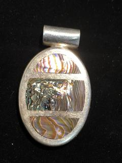 Thick Vintage Silver and Mother of Pearl Enhancer Pendant.