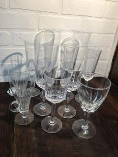 Lot of Glass and Crystal Serving Ware