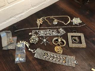 Lot of Vintage Crystal and Rhinestone, Aurora Borealis including Weiss
