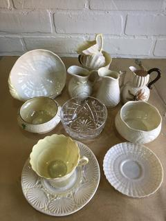 Lot of Irish China and Glass  Belleek Green and Black Mark and Waterford