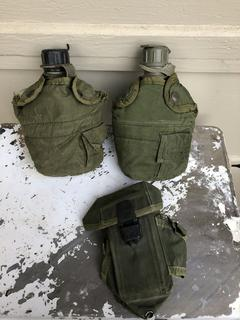 Military Water bottles with covers and phone/radio cover