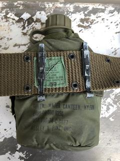 Military Water Canteen Attached to Belt