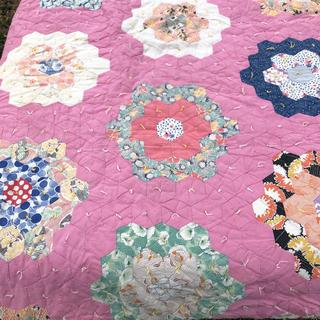 Antique Hand Made Honeycomb Cotton Quilt
