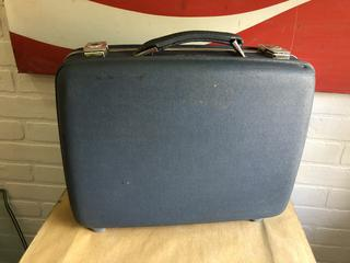 "Rare Small 16"" Vintage Hardcase Luggage with Original Key"