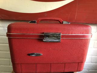 Vintage Red Forecast Makeup Case with Tray From Sears