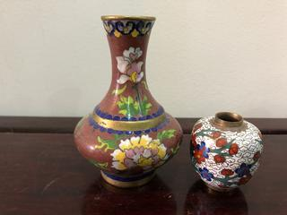 Pair of Vintage Cloisonné Brass Vase Miniatures