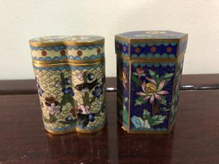 Pair of Antique Brass Cloisonné Snuff Boxes
