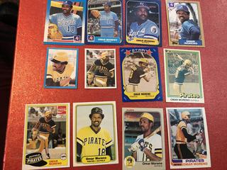 Lot of Omar Moreno Baseball Cards Various Teams #A