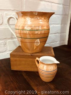Antique Pearlescent Milk and Cream Pitchers