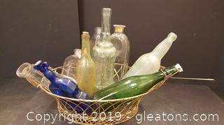 Lot Of Vintage Bottles With Wire Gold Basket