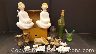 Vintage Lot With Porcelain White Angel Candle Holders, Wood Box, And Lots Of Miniatures