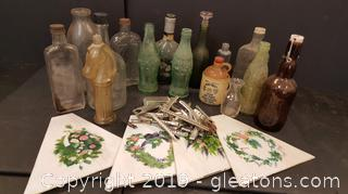 Vintage Bottles, Vintage Hair Rollers, Hand Painted Stained Glass