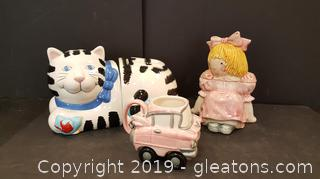 Nice Ceramic Glazed Cat Two Part Cookie Jar, Doll Cookie Jar, Vintage Car On Rolling Wheels