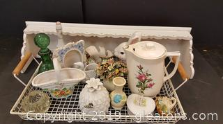 Nice Lot Of Vintage Collectible Porcelain Trinkets, Very Nice Rose Pattern Electric