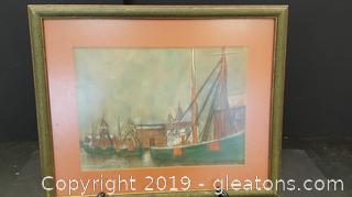 Vintage Framed Boat Picture